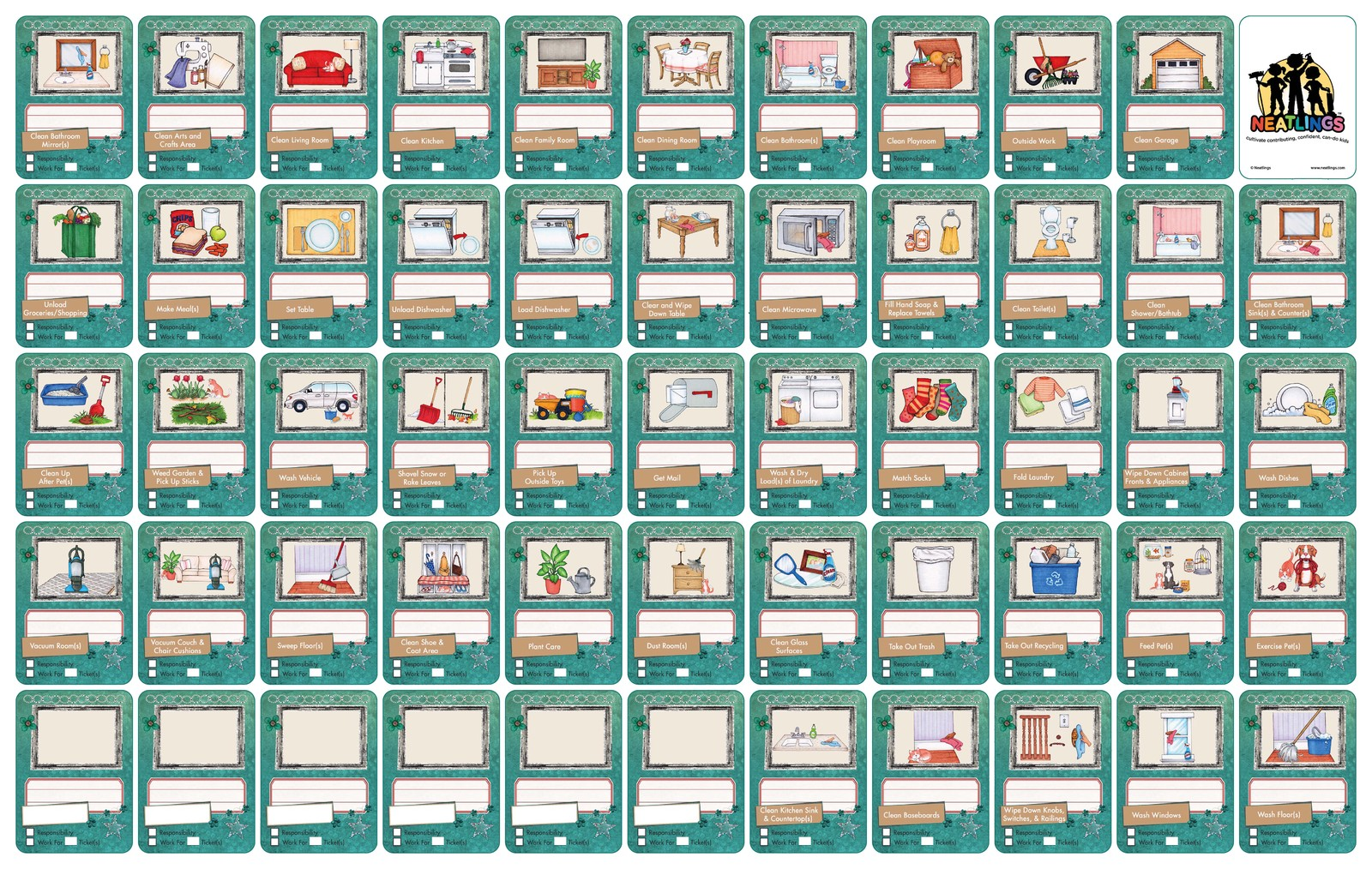 NEATLINGS Chore Chart System | 1 Child | 80+ Chore | Teal & Orange Cards image 4