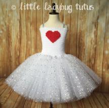 Valentines Day Tutu Dress, Valentines Tutu, Cupid Tutu, White Valentine ... - $40.00+
