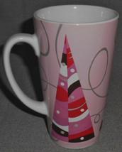 2004 Starbucks STYLIZED PINK/RED CHRISTMAS TREE DESIGN Handled Mug - $14.84