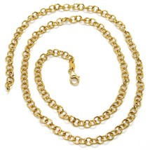 18K YELLOW GOLD CHAIN 15.75 IN, ROUND CIRCLE ROLO LINK DIAMETER 4 MM MADE ITALY image 2