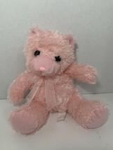Best Made Toys light baby pink plush teddy bear ribbon bow sitting stuffed toy - $14.84