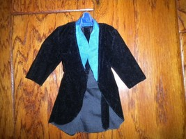 Vintage 1990's Mattel Barbie Ken Doll Black Velour Evening Jacket - $9.90