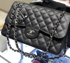 BRAND NEW AUTHENTIC CHANEL BLACK CAVIAR QUILTED JUMBO DOUBLE FLAP BAG SHW image 2