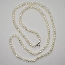 1 metre Long Necklace in 18k White Gold White Pearls freshwater Made in Italy image 6