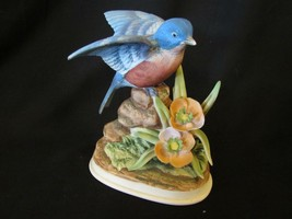 Porcelain Bluebird #7703 Hand Painted Bird Figurine - $8.54