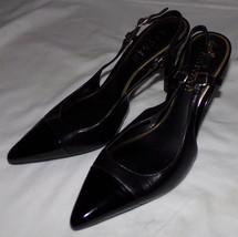 Lauren Ralph Lauren Charol Negro con Tira Trasera Tacones 7b 7b Zapatos ... - $30.49