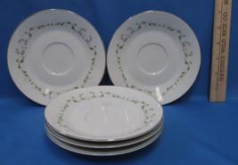 Set 5 Saucers Plates Sheffield Fine China w/ Elegance Pattern White Flor... - $10.88