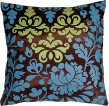 Pillow Decor - Bohemian Damask Brown, Blue and Olive Throw Pillow - $36.95