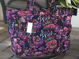 VERA BRADLEY GET GOING CARRIED TOTE LARGE TRAVEL BAG MIDNIGHT WILDFLOWER... - $69.29