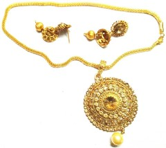 Indian Gold Plated Bollywood Girls Jewellary Gorgeous Necklace Earrings ... - $11.87