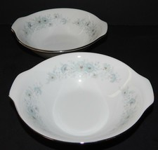 2 Noritake Inverness 6716 Tab Handle Cereal Bowl Silver Rim Blue Flower Pattern  - $25.73