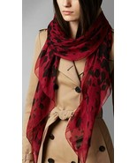 Burberry Animal Print Silk Scarf Military Red - $316.79
