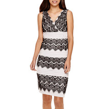 Signature by Sangria Sleeveless Lace Colorblock Sheath Dress Size 10P, 16P - $29.99