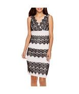 Signature by Sangria Sleeveless Lace Colorblock Sheath Dress Size 10P, 16P - $29.99