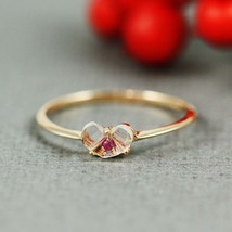 White Quartz and Ruby Heart Shaped Rose Gold Plated Ring - $48.00