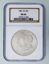 1881-CC $1 Silver Morgan Dollar Graded by NGC as MS-64! Key Date Morgan - $618.74