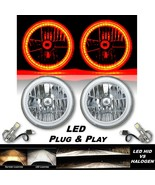 """7"""" Amber SMD LED Halo Crystal Clear Headlight LED Bulb Pair Fits Jeep Wr... - $129.95"""