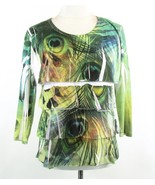 JESS & JANE Size S Tiered Peacock Print Knit Tee Top - $16.99