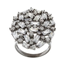 Black Sterling Silver Radiant Dome Baguette 5A Cubic Zirconia Knuckle Ring - $89.99