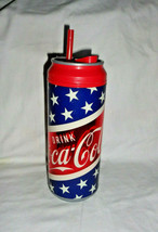 Coca Cola Hard Plastic Cooler Cup Tumbler Star Spangled Banner with straw & tab - $10.44