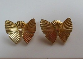 Vtg Signed Accessocraft Gold-tone Butterfly Pierced Earrings  - $19.79