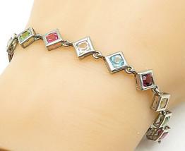 925 Silver - Vintage Multi-Color Topaz Square Link Chain Bracelet - B5278 - $27.96