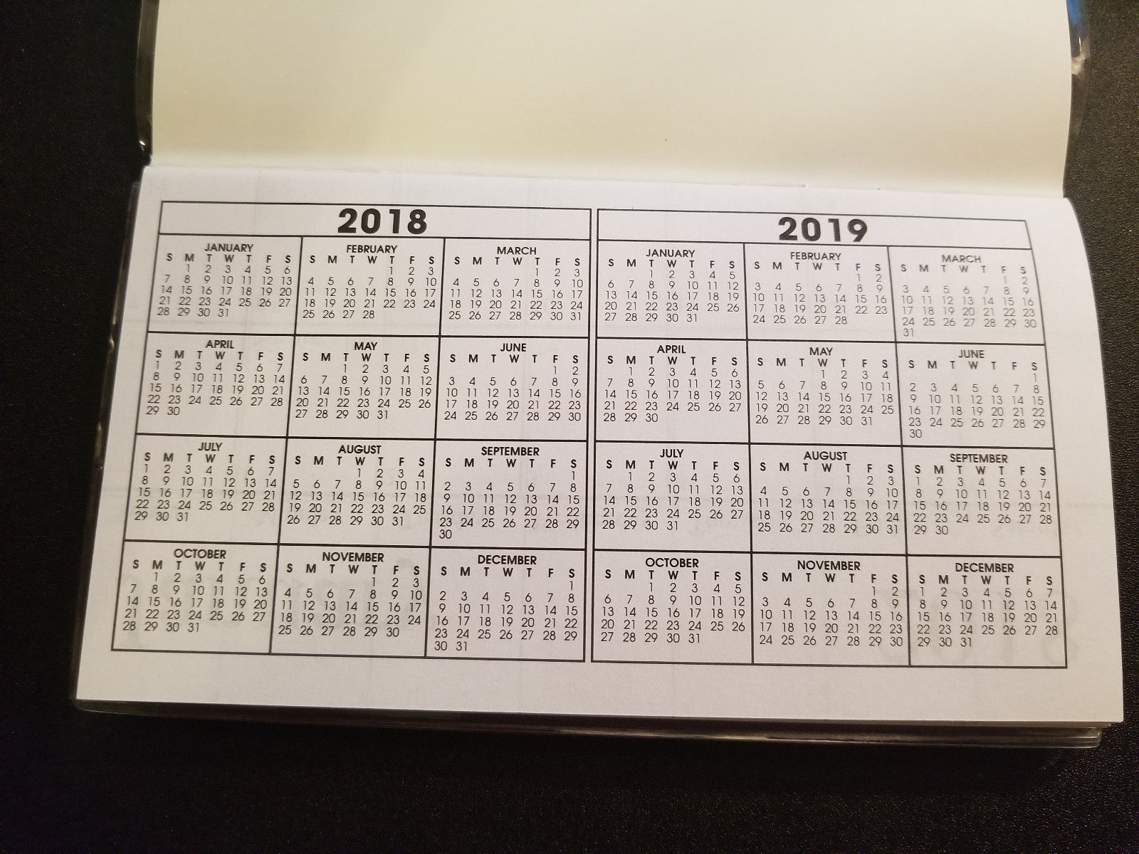 2018-2019  Scripture 2 Year Pocket Planner Calendars ( James 1:17 )