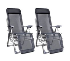 Camping Chair Set Of 2 Outdoor Seat With Footrest Adjustable Folding Cha... - $146.60