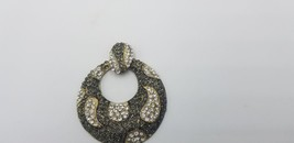 Vintage Big & Round Black & Crystal Rhinestone Pendant W/ Gold Tone Borders - $25.14
