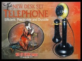 Telephone-Candlestick Advertisement Metal Sign - $29.95