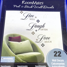 Room Mates Peel & Stick Wall Decals Live Well Laugh Often Love Much 22 Removable - $15.79