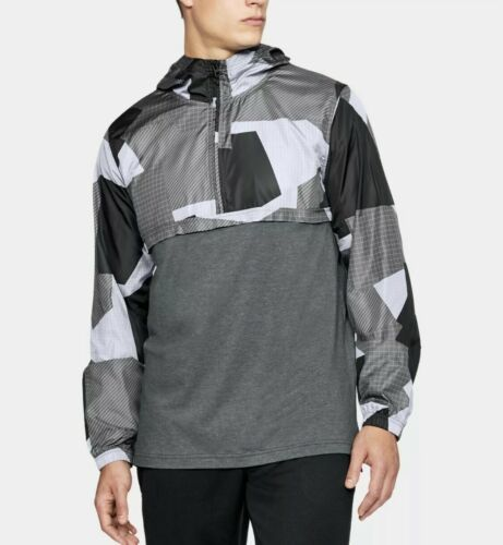 UNDER ARMOUR HOODIE PULL OVER WINDBREAKER TOP Black & Gray Adult Extra Large!!