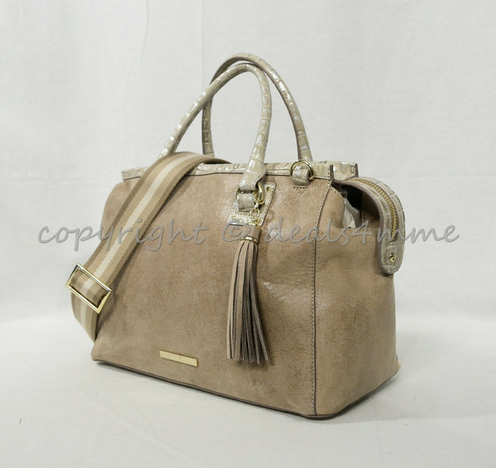 Primary image for NWT Brahmin Schooner Suede Leather Satchel/Shoulder Bag in Warm Gray Reynolds