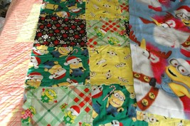 Christmas Descpicable Me Minion Lap or Baby Blanket Rag Quilt, Fleece Back - $19.79