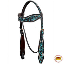 Western Horse Headstall Tack Bridle American Leather Turquoise Hilason U... - $59.35
