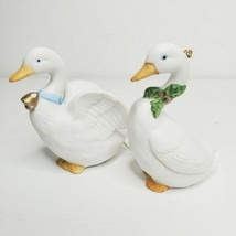 2- HOMCO #5255 Christmas Geese Swan Ceramic Ornaments Mother Goose Bell, Holly - $11.99
