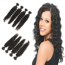 Brazillian Hair Weave Virgin Unprocessed Human Hair Deep Wave 4 Bundles ... - $110.82