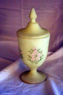 Primary image for Fenton Yellow Satin Custard Glass Footed Covered Candy Dish Signed