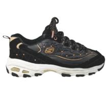 Skechers Women's D'Lites 13087 Black Bronze Lace Up Athletic Running Shoes Sz 8 - $54.87
