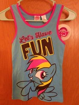 My Little Pony Girl's L Racerback Tank Top Blue Rainbow Dash Let's Have ... - $8.00