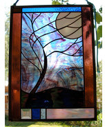 Stained Glass Window Panel Beveled Moonlit Tree stormy night blue purple... - $147.00
