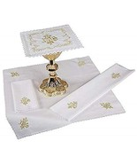 Christian Brands Embroidered IHS Lace Trim Mass Linen Gift Set - $74.15