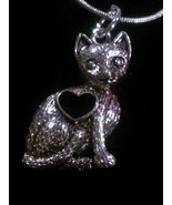 Sterling Silver Plated Cat Pendant w/Heart on a 925 Sterling Silver Snak... - $8.99