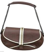 GIUSEPPE ZANOTTI Brown Leather Shoulder Bag Pochette Handbag Gold Chain - $90.25