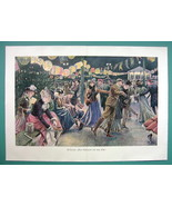 WINTER Ice Skating Rink Festival Ladies - COLOR VICTORIAN Era Print 14.5... - $16.84