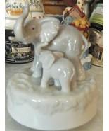 "Vintage Otagiri Japan Porcelain Elephant & Baby Rotating Music Box ""Born... - $28.04"