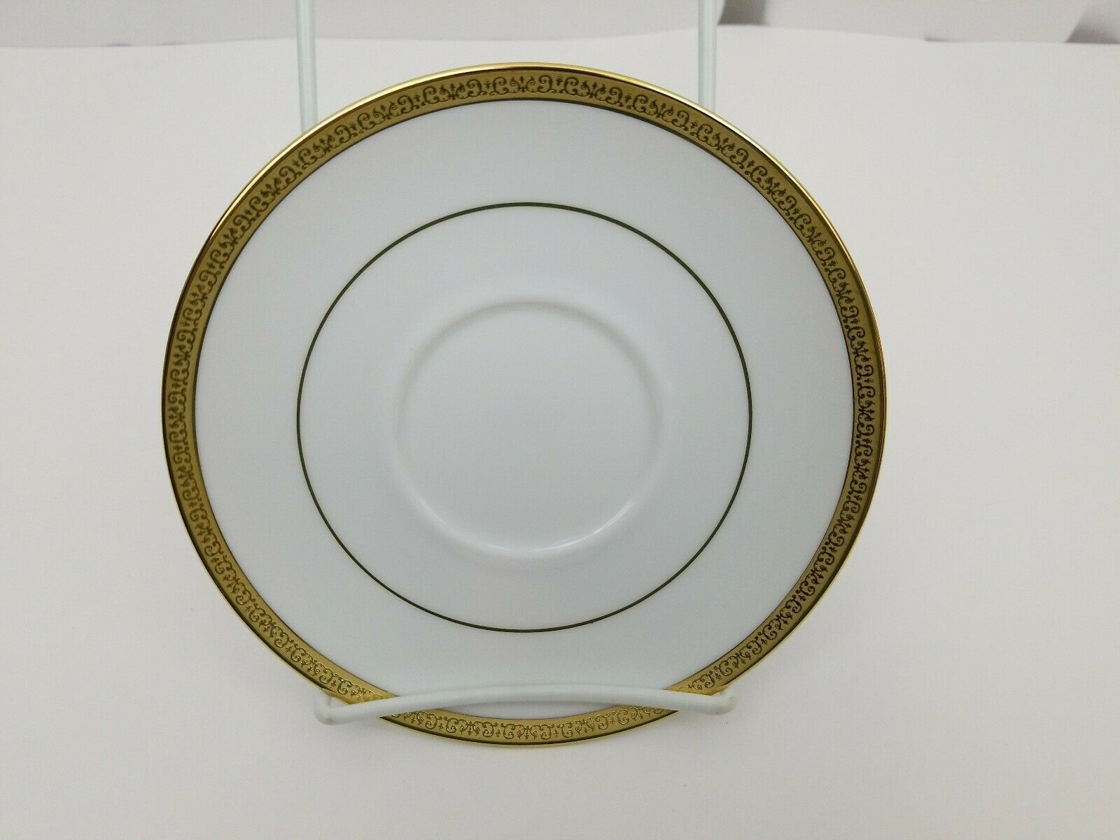 "Charter Club Home Grand Buffet Gold Saucers Lot of 2 White Gold Trim 6 1/2"" image 3"