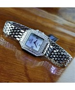 New CERES Elegant Silver Swarovski Crystal Pave Bracelet Watch MOP Dial - $275.00