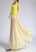 YELLOW High Waist Chiffon Maxi Skirt Women Flowing Long Wedding Bridesmaid Skirt image 6