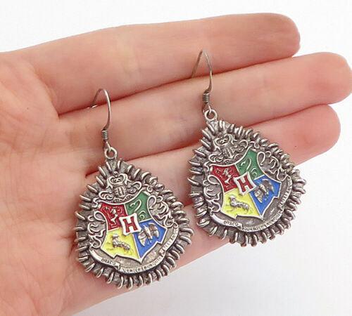 Primary image for WBE 925 Sterling Silver - Vintage Enamel Hogwarts School Emblem Earrings - E9646